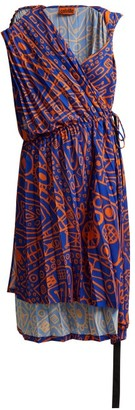 colville Asymmetric Pleated Midi Dress - Blue Print