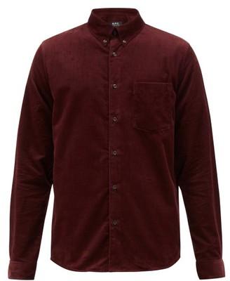 A.P.C. Button Down Cotton Needlecord Shirt - Mens - Burgundy