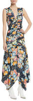 Peter Pilotto Sleeveless Ruched Floral Satin Maxi Dress