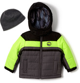 London Fog Yellow Color Block Puffer Coat & Beanie - Infant Toddler & Boys