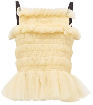Molly Goddard Betsy Lace-up Smocked-tulle Top - Womens - Cream