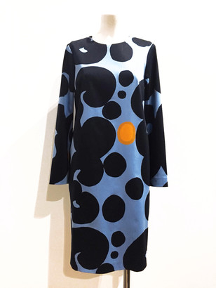 Marimekko Isabella Pieni Keidas Print Long Sleeves Dress - 38 - Blue/Orange