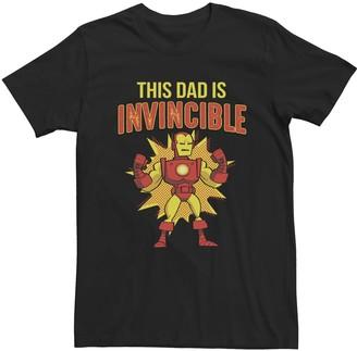 Iron Man Men's Marvel This Dad Is Invincible Comic Pop Portrait Tee