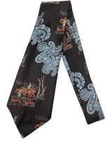 Anthony Logistics For Men Blue Paisley Cowboy Vintage Tie - Jacquard Weave Wide Kipper Necktie Brown
