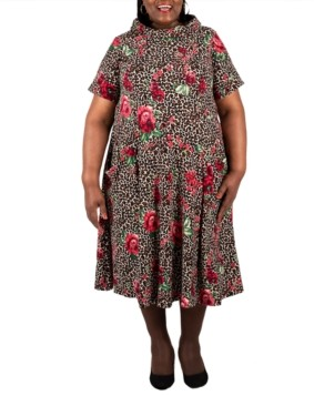 Robbie Bee Plus Size Mixed-Print Fit & Flare Dress