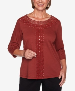 Alfred Dunner Women's Catwalk Solid Center Crochet Knit Top