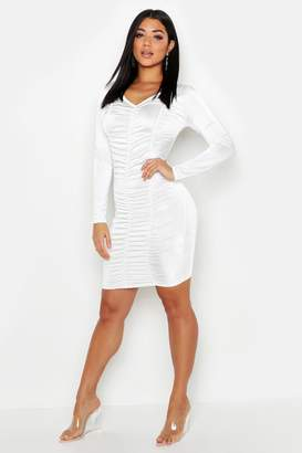 boohoo Ruched Long Sleeve Mini Dress