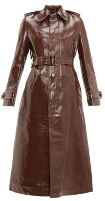 Ami Single-breasted Crinkled-leather Trench Coat - Womens - Brown
