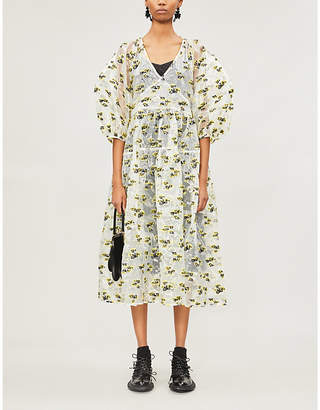 CECILIE BAHNSEN Regitze floral-embroidered silk midi wrap dress