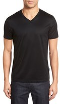 BOSS Men's 'Teal' Slim Fit Mercerized Cotton V-Neck T-Shirt