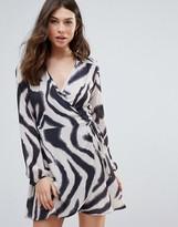 Liquorish Zebra Print Long Sleeve Wrap Dress
