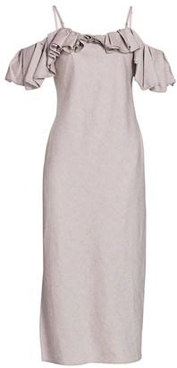 Jacquemus Pampelonne Linen-Blend Off-The-Shoulder Ruffle Dress
