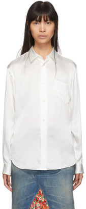 Junya Watanabe White Silk Satin Shirt