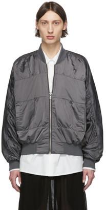 Random Identities Grey Satin Bomber Jacket