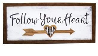 "Patton Wall Decor 10""x24"" Follow Your Heart Wall Art Brown"