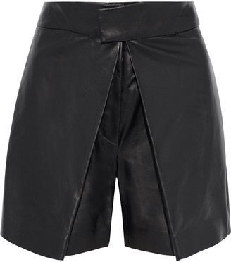 Valentino Pleated Leather Shorts