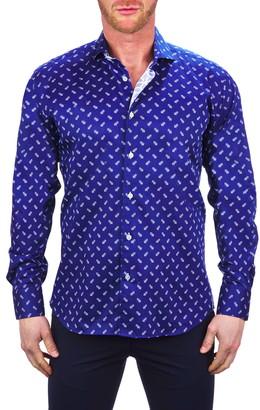 Maceoo Einstein Bee Blue Button-Up Shirt