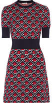 Miu Miu Intarsia Wool Mini Dress - Navy