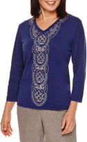 Alfred Dunner Crescent City 3/4 Sleeve Embroidery Sweater