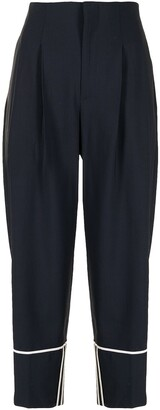 Lorena Antoniazzi Cropped Tapered Trousers With Piped Detail