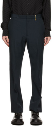 Rochas Homme Navy Wool Canvas Trousers