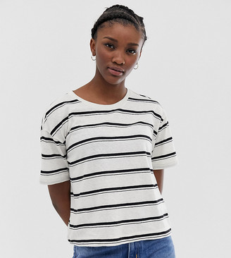 Weekday stripes t-shirt in off white and black-Cream
