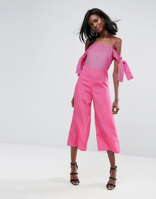 Asos Design Embellished Cold Shoulder Jumpsuit-Pink