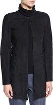 Elie Tahari Ellis Suede & Lace Coat, Black