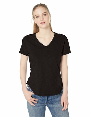 Daily Ritual Amazon Brand Women's Lived-in Cotton Roll-Sleeve V-Neck T-Shirt