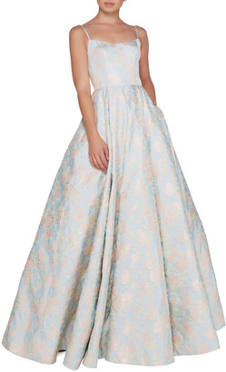 Mac Duggal Ieena for Floral-Print Square-Neck Sleeveless Ball Gown