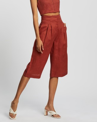 AERE - Women's Brown Cropped Pants - Linen Cropped Wide Leg Pants - Size 6 at The Iconic