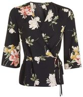 Topshop Floral satin wrap top