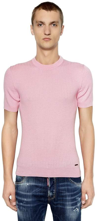 DSQUARED2 Wool Rib Knit Short Sleeve T-Shirt