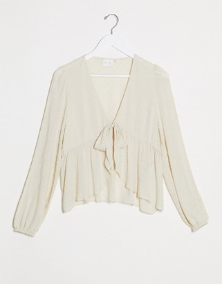 Vila textured blouse with tie front in cream