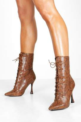 boohoo Snake Interest Heel Lace Up Shoe Boots