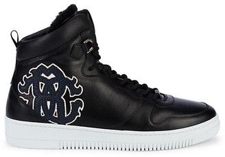 Roberto Cavalli Shearling-Lined Leather High-Top Sneakers