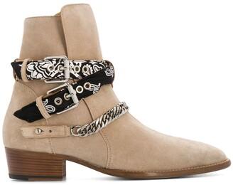 Amiri Bandana Buckle Ankle Boots