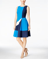 Charter Club Colorblocked Fit & Flare Dress, Only at Macy's
