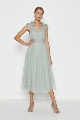 Coast Bow Shoulder Mesh Midi Dress