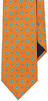 Barneys New York MEN'S MEDALLION-PATTERN FAILLE NECKTIE-ORANGE