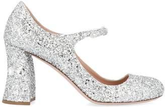 Miu Miu Mary Jane Glitter Block Heel Pumps
