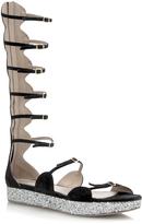 Giambattista Valli Glitter Flatform Gladiator Sandal in Black
