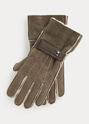 Ralph Lauren Leather-Trim Shearling Gloves