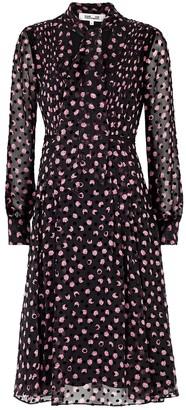 Diane von Furstenberg Aleka Floral-print Flocked Silk-chiffon Midi Dress