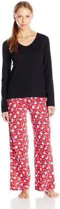 Intimo Women's Long Sleeve V-Neck T Cotton Pajama Set