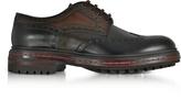 Santoni Dark Brown Wingtip Leather Derby Shoes