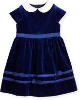 Florence Eiseman Cap-Sleeve Velvet Dress, Royal, Size 2-6