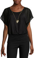 BY AND BY by&by Short-Sleeve Textured Knit Banded Bottom Top with Necklace - Juniors