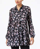 Style&Co. Style & Co Floral-Print Swing Shirt, Created for Macy's