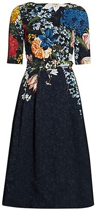 Oscar de la Renta Textured Floral Jacquard Dress